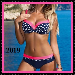 Other - BNWT- 2019- Sexy Pink Polka Dot 2-Piece Swimsuit